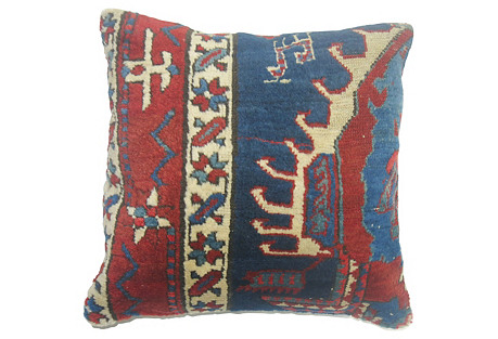Blue Heriz Rug Pillow