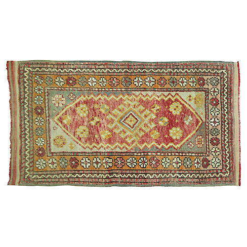 "Antique Oushak Rug, 2'10"" x 4'8"""