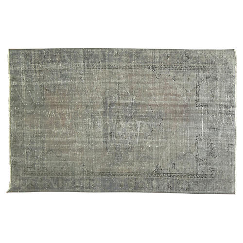 "Gray Overdyed Rug, 4'4"" x 6'9"""