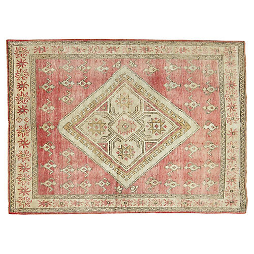 "Antique Oushak Rug, 3'9"" x 5'2"""