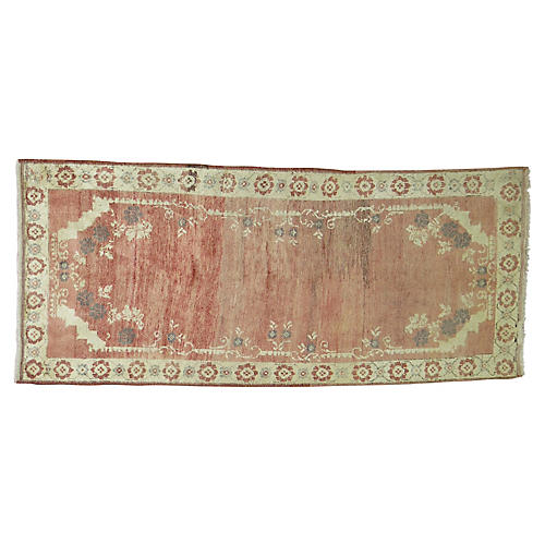 "Turkish Oushak Rug, 3'4"" x 7'3"""