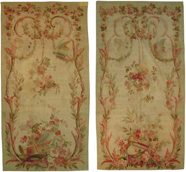 18th-C. Tapestry Panels, Pair