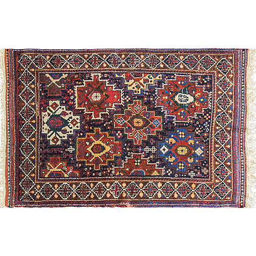 "Antique Persian Afshar Rug, 3'7"" x 5'7"""