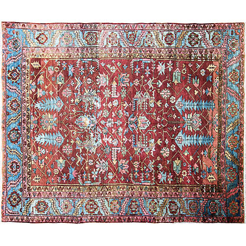 """Antique Heriz Persian Rug, 8'8"""" x 11'1"""""""