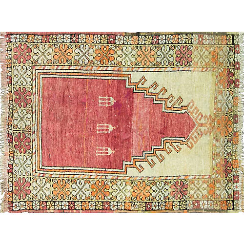 "Antique Oushak Rug, 3'2"" x 4'4"""