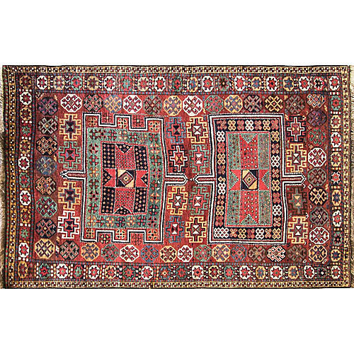 "4'5"" x 7'Unusual Antique Persian Qashqai"