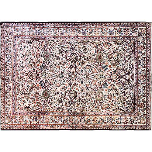 "Ivory Persian Kashan Rug, 7'1"" x 10'8"""
