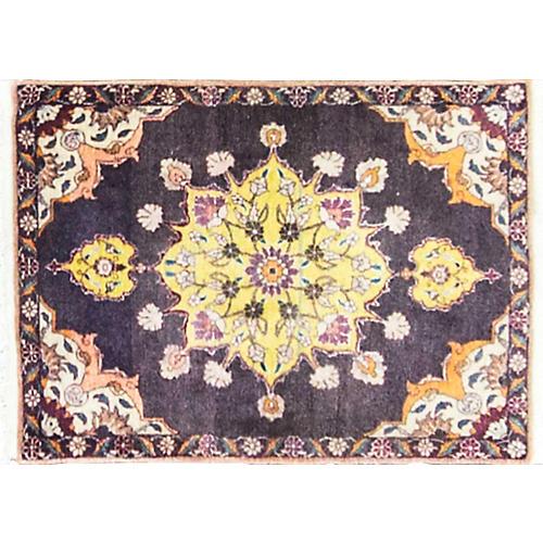 """Persian Tabriz Rug, 1'10"""" x 2'9"""""""