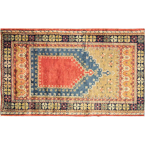 "Antique Oushak Prayer Rug, 2'11"" x 5'"