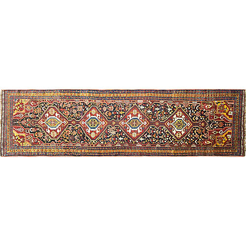 Antique Qashqai Runner, 3' x 12'