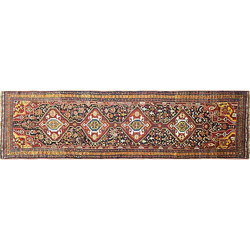 Antique Qashqai Runner, 3' x 12'