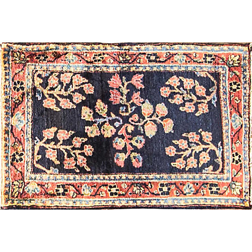 "Antique Persian Sarouk Rug, 1'8"" x 2'7"""