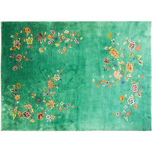 "Chinese Art Deco Carpet, 9'8"" x 13'7"""