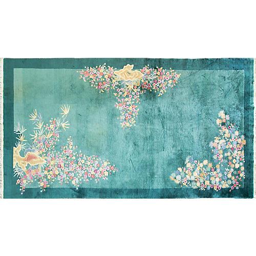 """Green Art Deco Carpet, 6'10"""" x 12'9"""""""