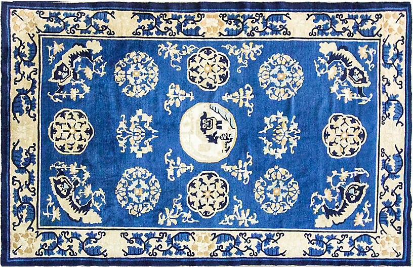 Antique Chinese Peking Rug, 5' x 7'8