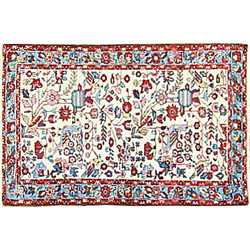 "Persian Melayer Bird Rug, 2'7"" x 4'2"""