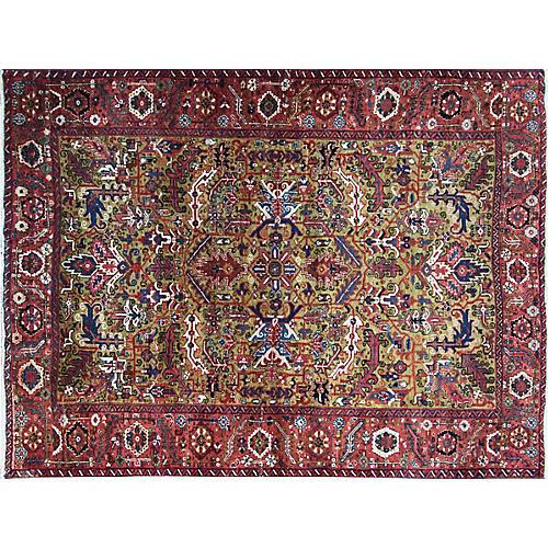 """7'5"""" x 99"""" Persian Heriz Carpet in Gold,"""