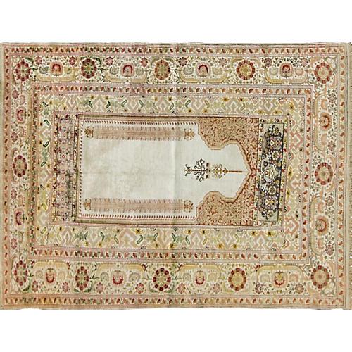 """Antique Silk Kayseri Prayer Rug, 4'9""""x6'"""