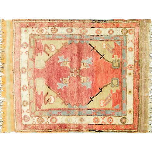 "Antique Oushak Rug, 2'8"" x 3'4"""