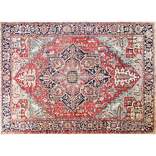"""Antique Persian Heriz Rug, 9' x 12'8"""""""