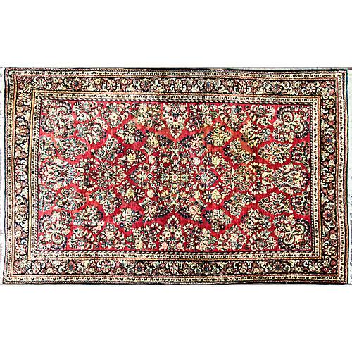 """Persian Sarouk Rug, 4'1"""" x 6'7"""""""