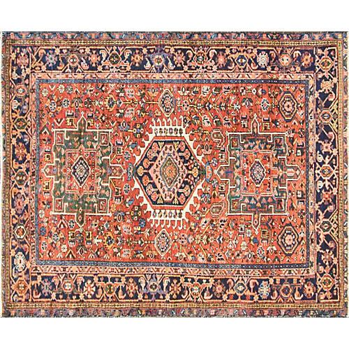 """Antique Persian Heriz Rug, 4'10"""" x 6'1"""""""