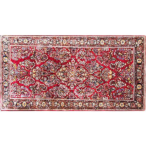 """4'4"""" x 9' Persian Sarouk Carpet,"""