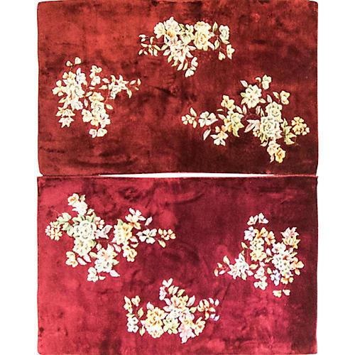 """Pair of 3' x 4'10"""" Antique Art Deco Rugs"""