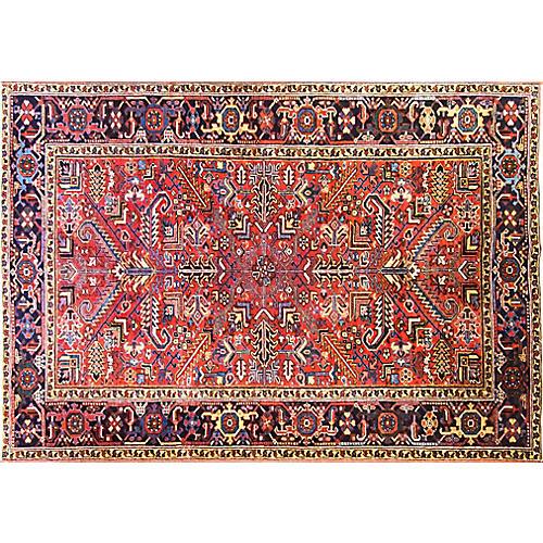 """6'6"""" x 9'2"""" Antique Persian Heriz Rug"""