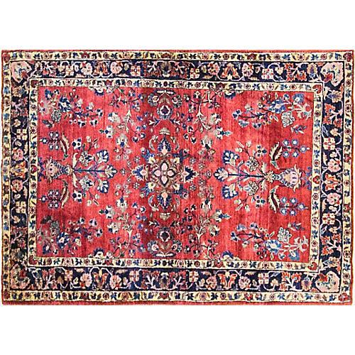 "3'4"" x 4'10"" Antique Persian Sarouk Rug"