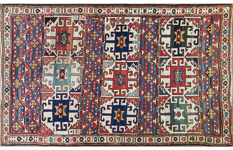 Antique Kazak Rug, Caucuses, 4'5