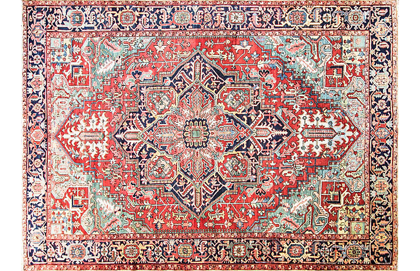 Antique Persian Heriz Rug, 9' x 12'7