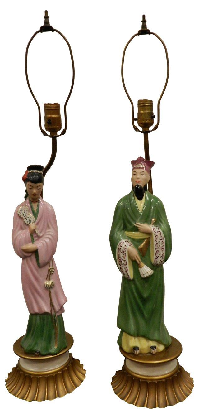 Asian Figural Lamps, Pair