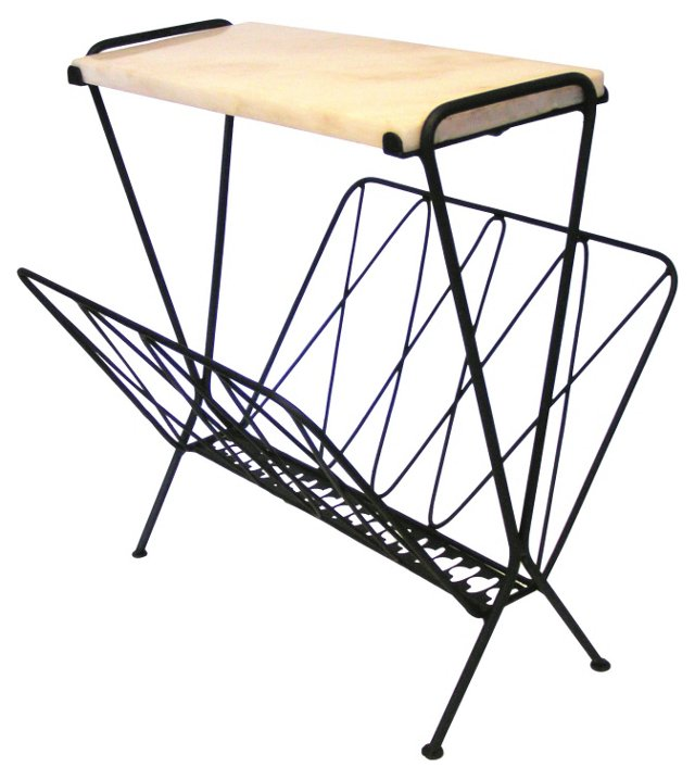 Marble-Top Side Table/Magazine Rack