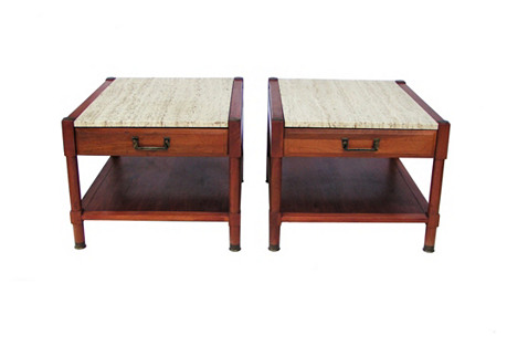 Travertine &  Walnut Tables, Pair