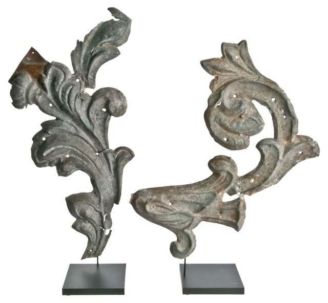 French Zinc Fragments on Stands, Pair