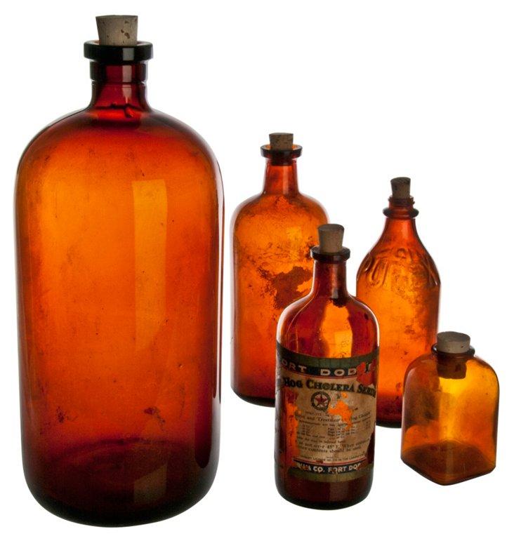 Amber Apothecary Bottes, Set of 5