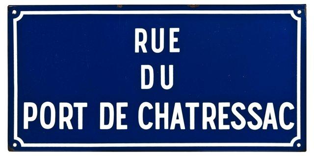 French Enamel Rue de Chatressac Sign