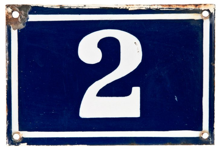 French Enamel House Number, 2