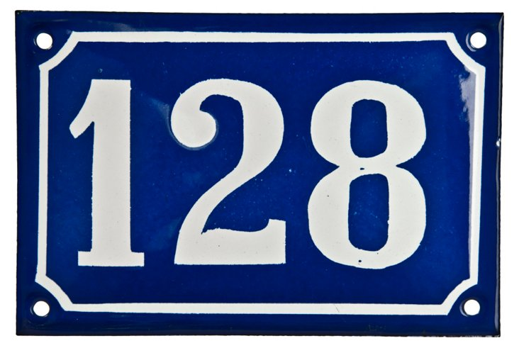 French Enamel House Number,  128