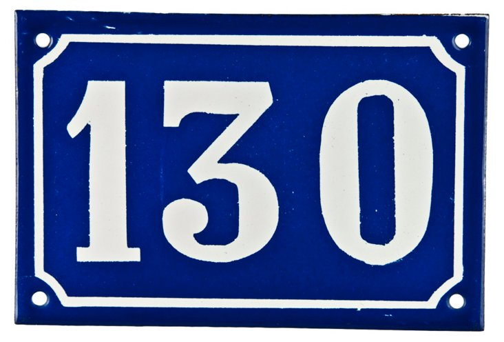 French Enamel House Number, 130