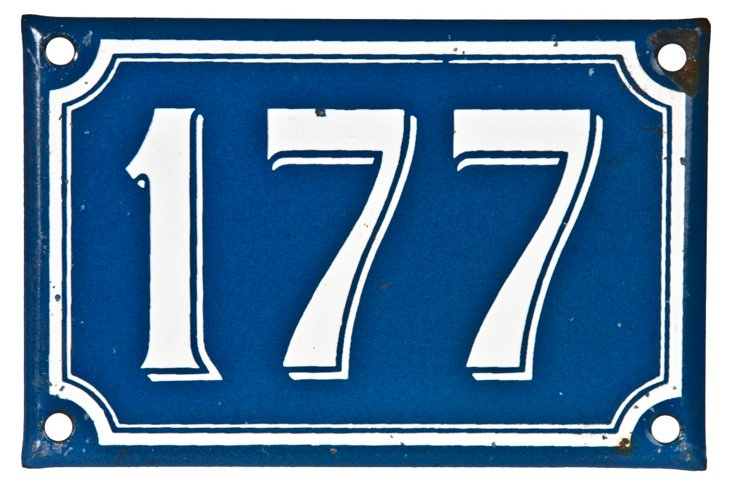 French Enamel House Number,  177