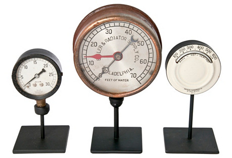 Industrial Gauges w/ Stands, S/3