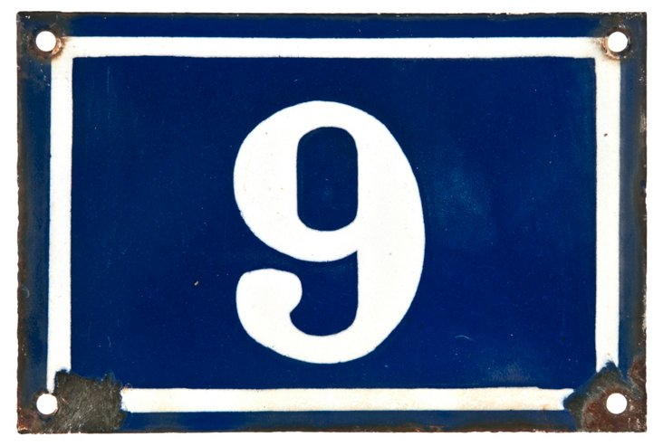 French Enamel House Number, 9