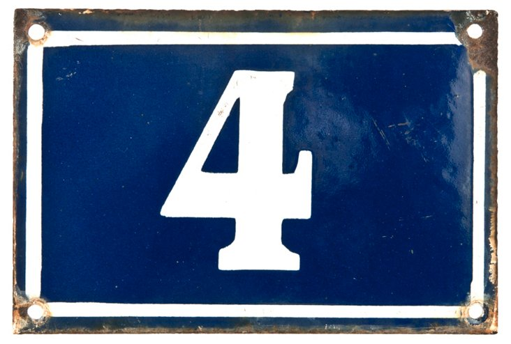 French Enamel House Number, 4