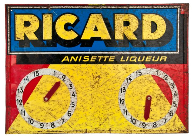 French Ricard Opening Hours Sign