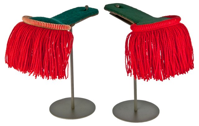French Epaulettes on Stands, Pair