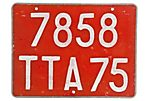 Paris Automobile License Plate