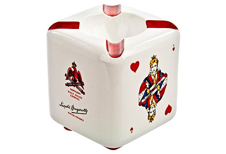French Cognac Playing Card Ashtray