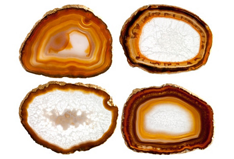 Agate Slice Coasters, S/4